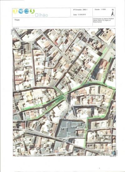 Zona histórica - novas pavimentações a verde claro; área do mirante a verde escuro
